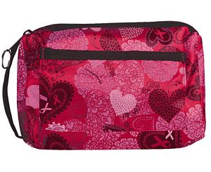 Compact Carrying Case, Ribbons and Hearts Pink