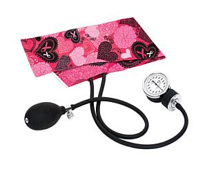 Premium Aneroid Sphygmomanometer, Adult, Ribbons and Hearts Pink
