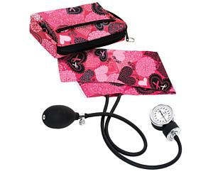 Premium Aneroid Sphygmomanometer With Carry Case, Adult, Ribbons and Hearts Pink